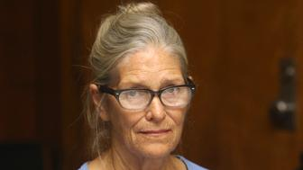 FILE - In this Sept. 6, 2017, file photo, Leslie Van Houten attends her parole hearing at the California Institution for Women in Corona, Calif. California Gov. Jerry Brown has again denied parole for Van Houten, the youngest follower of murderous cult leader Charles Manson. Brown said in his decision announced Friday, Jan. 19, 2018, that despite Van Houten saying at her parole hearing that she accepts full responsibility for her crimes, she still lays too much of the blame on Manson, who died two months ago. (Stan Lim/Los Angeles Daily News via AP, Pool, File)