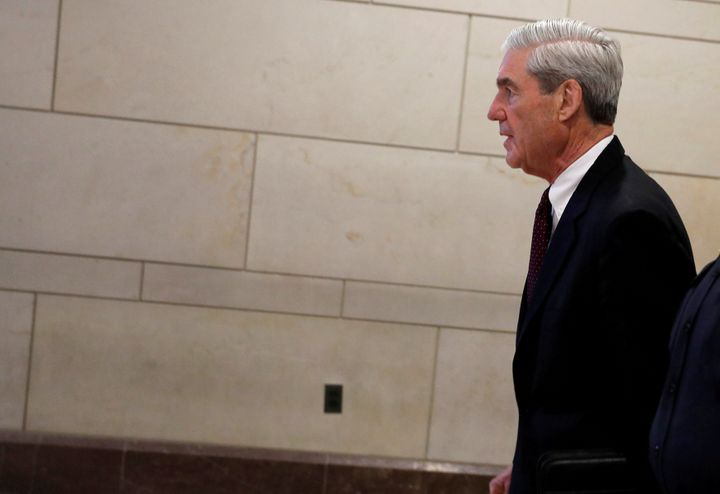 Special Counsel Robert Mueller departs after briefing the U.S. House Intelligence Committee on his investigation of potential