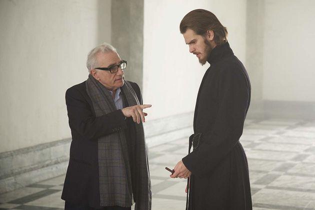 Scorsese comAndrew Garfield em seu filme mais recente, Silêncio