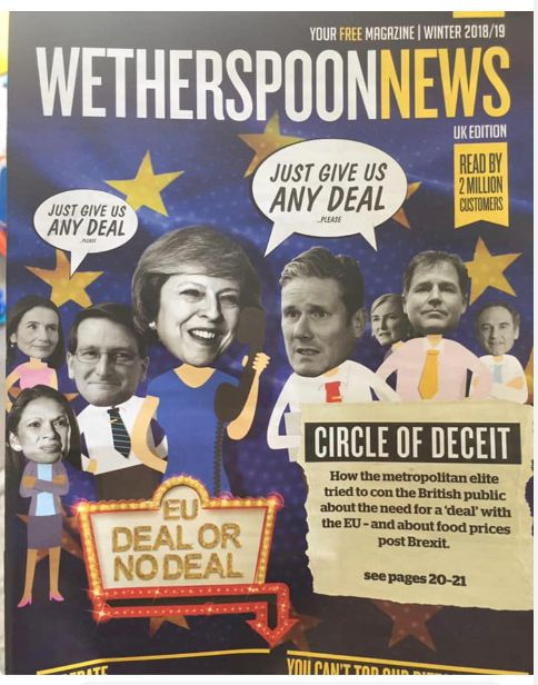Wetherspoon's Faces Backlash After Posting 'Pro-Brexit' Magazine To