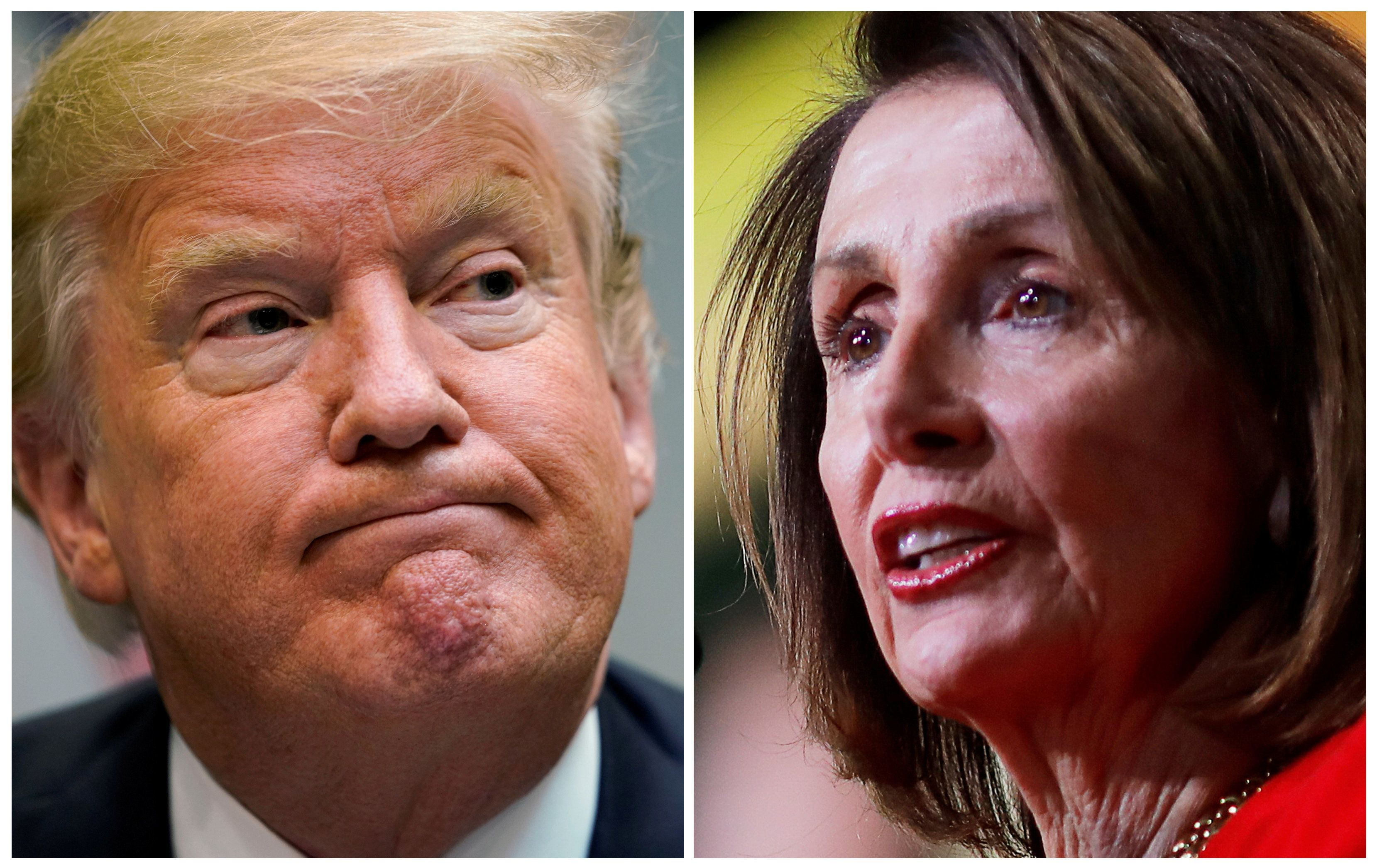 A combination photo of U.S. President Donald Trump speaking to reporters at a healthcare roundtable in the Roosevelt Room of the White House and U.S. House Speaker Pelosi (D-CA) addressing the United States Conference of Mayors 87th Winter Meeting in Washington, U.S., January 23, 2019.   REUTERS/Kevin Lamarque, REUTERS/Carlos Barria  ??