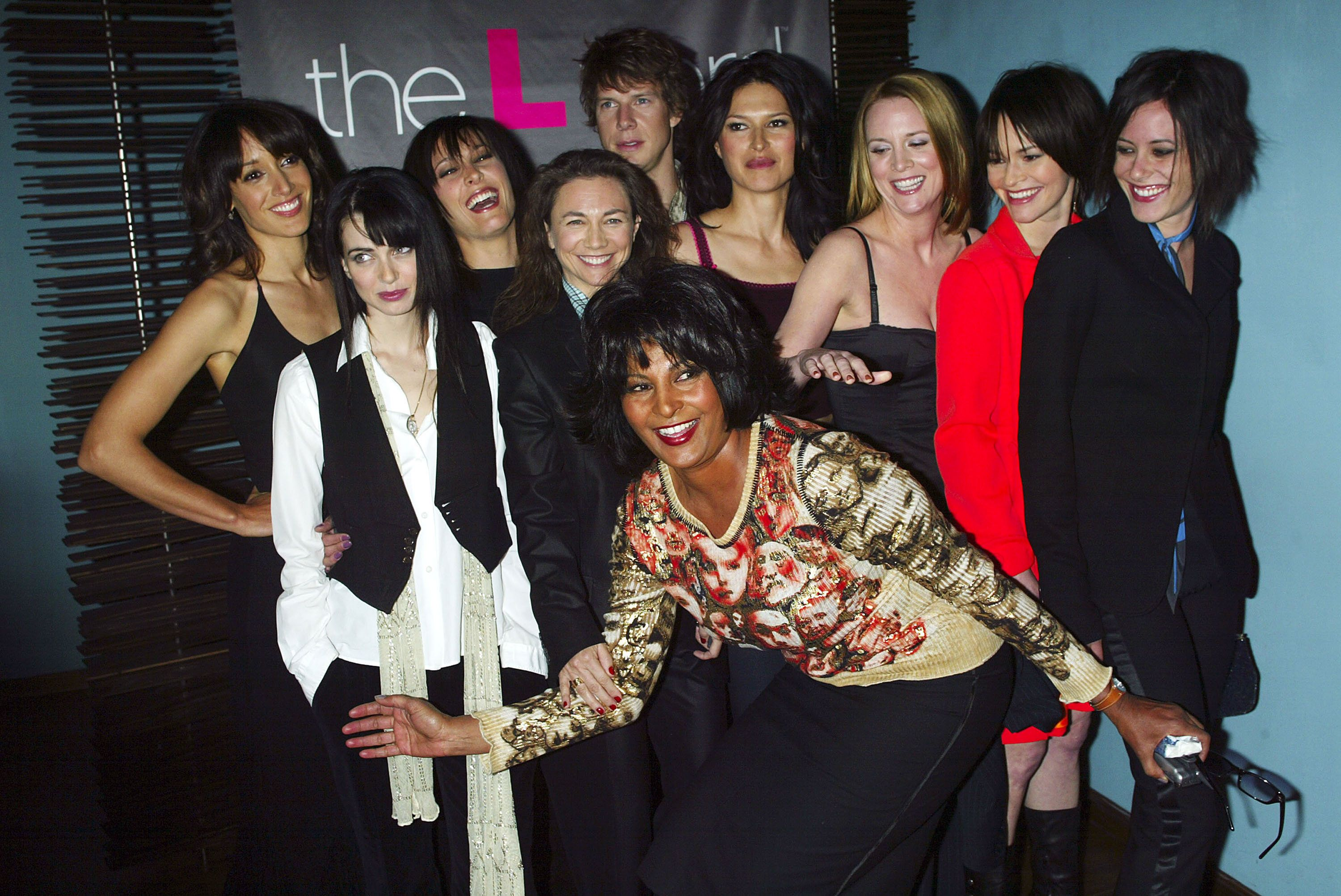 NEW YORK - OCTOBER 23:  (HOLLYWOOD REPORTER & U.S. TABS OUT)  Cast members Jennifer Beals, Pam Grier, Erin Daniels, Leisha Hailey, Laurel Holloman, Mia Kirshner, Karina Lombard, Eric Mabius, Katherine Moennig and Executive Producer Ilene Chaiken at a preview luncheon for Showtime's new original series 'The L Word' at Blue Fin October 23, 2003 in New York City.  (Photo by Scott Gries/Getty Images)