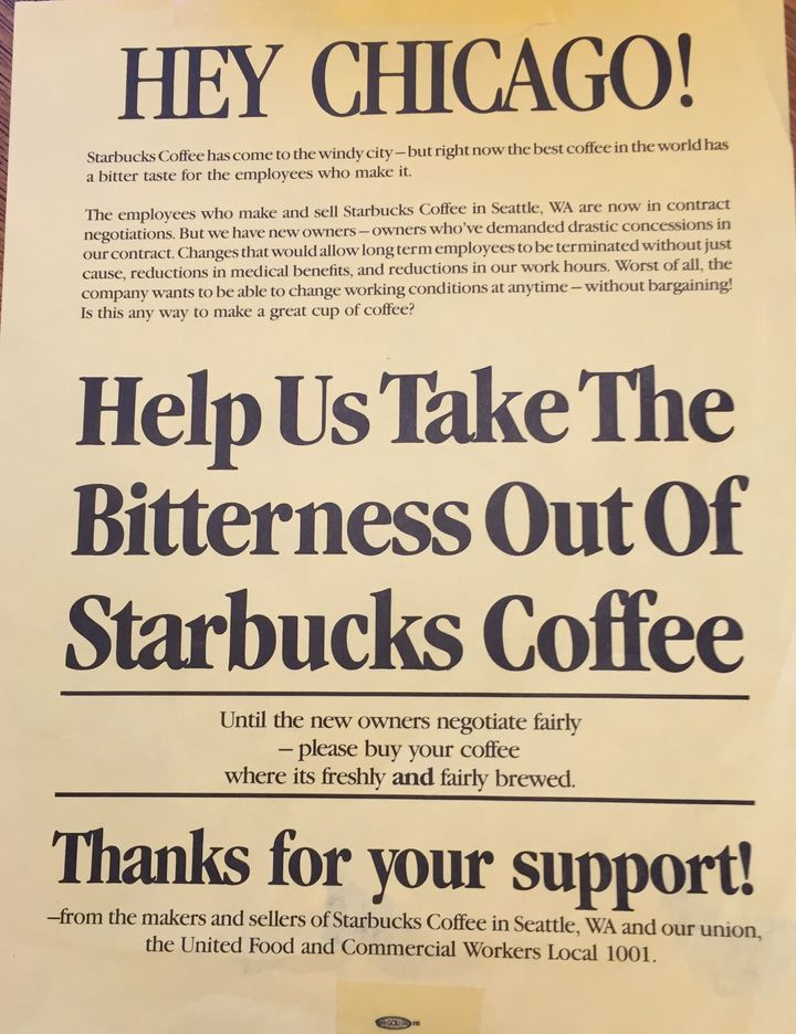 A leaflet passed out in Chicago, circa 1987, as Starbucks expanded there.