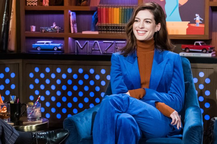 "Anne Hathaway on ""Watch What Happens Live"" with Andy Cohen and Matthew McConaughey."