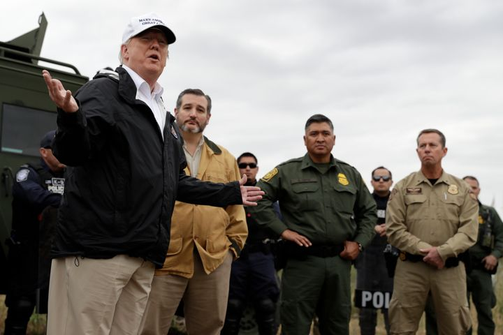 President Donald Trump speaks in McAllen, Texas, during a tour of the U.S. border with Mexico on Jan. 10, 2019. Sen. Ted Cruz