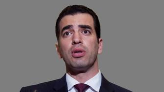 Ruben Kihuen headshot,  US Representative of Nevada, graphic element on gray