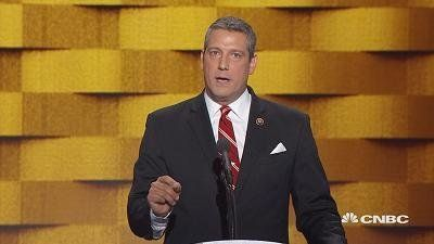 "U.S. Representative Tim Ryan (Ohio) speaks at the Democratic National Convention in Philadelphia, Pennsylvania, discusses how Trump is not ""on our side."""