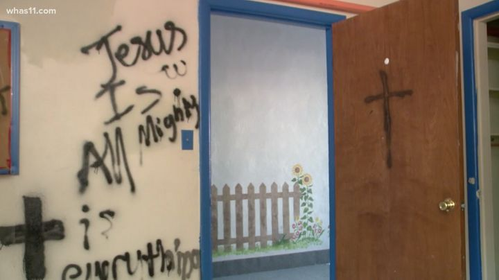 A vandal or vandals broke in and painted crosses and Christian phrases on the walls of Swaminarayan Temple, a Hindu house of
