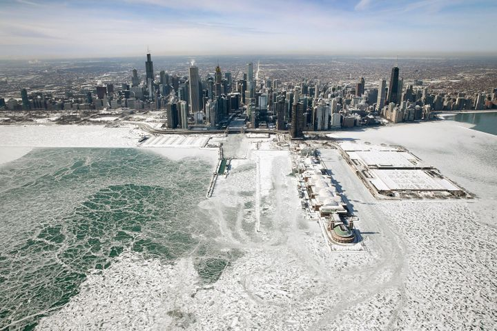 Ice built up along the shore of Lake Michigan as temperatures during the past two days dipped to lows around -20 degrees on J