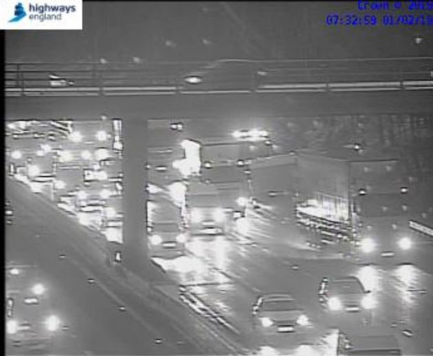A vehicle was seen overturned on theM3 westbound between junctions J2 and