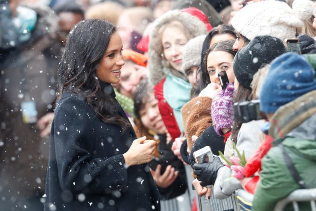 The Duchess of Sussex encountered a flurry of snow as she visited the Bristol Old Vic theatre in the...