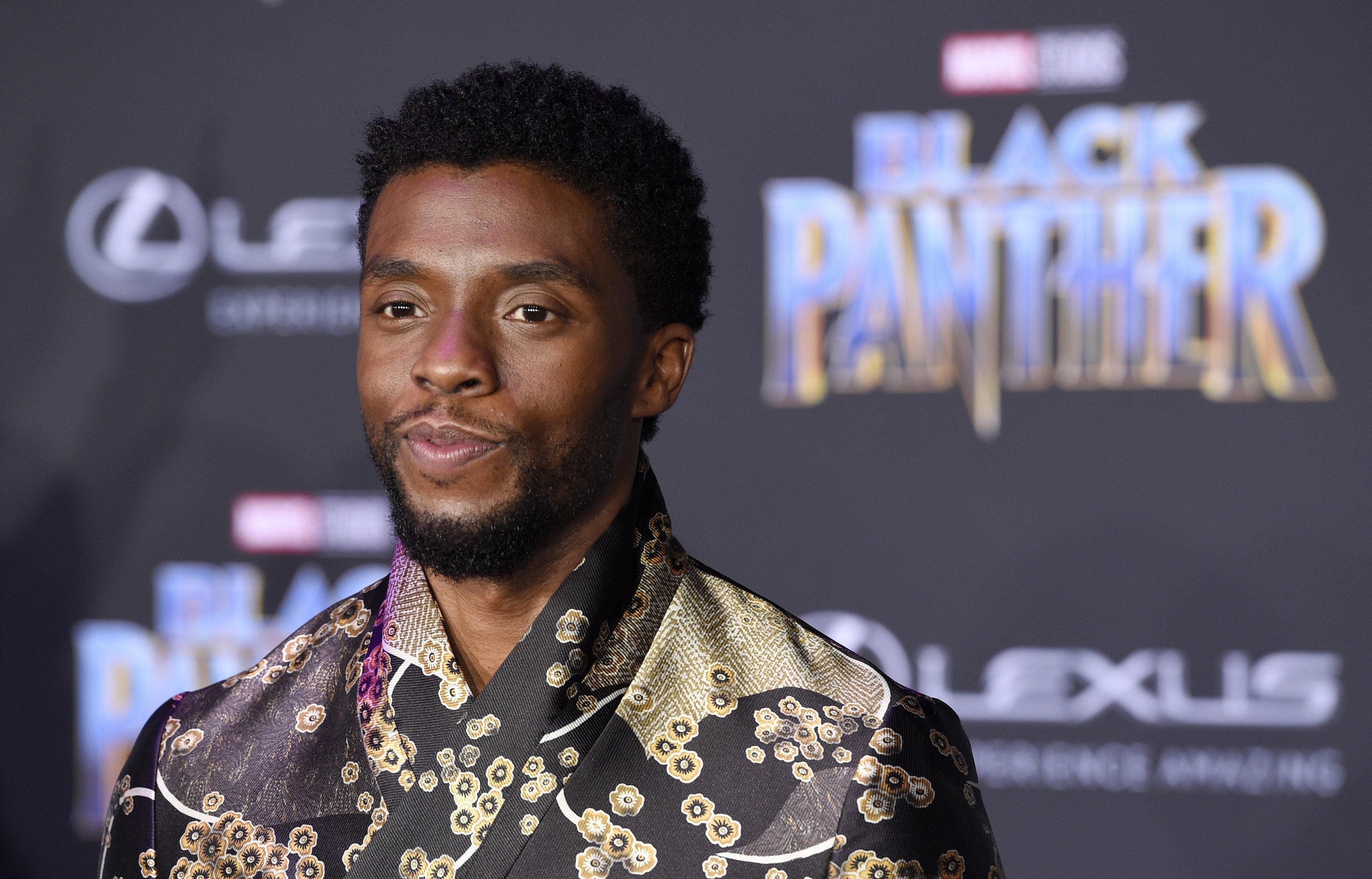"""ARCHIVO - Chadwick Boseman del elenco de """"Black Panther"""" posa en el estreno de la película en el Teatro Dolby en Los Angeles en una fotografía de archivo del 29 de enero de 2018. El lenguaje usado en el reino ficticio de Wakanda en """"Black Panther"""" es bastante real. Los chasquidos que hacen los personajes con su lengua forman parte del xhosa, uno de los 11 idiomas oficiales de Sudáfrica. (Foto Chris Pizzello/Invision/AP, archivo)"""
