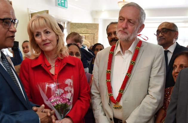 Jennie Formby (left) with Jeremy Corbyn during their local election