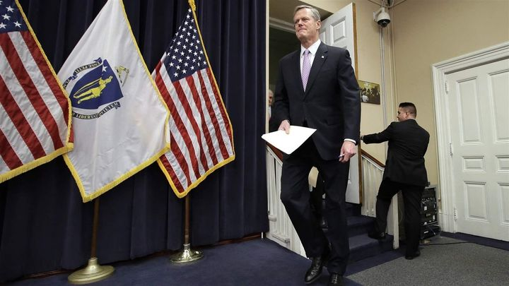 Massachusetts Republican Gov. Charlie Baker, in Boston last week, has said he wants to prosecute drugmakers that charge Medic