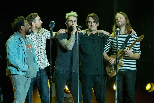 Maroon 5 on stage together in