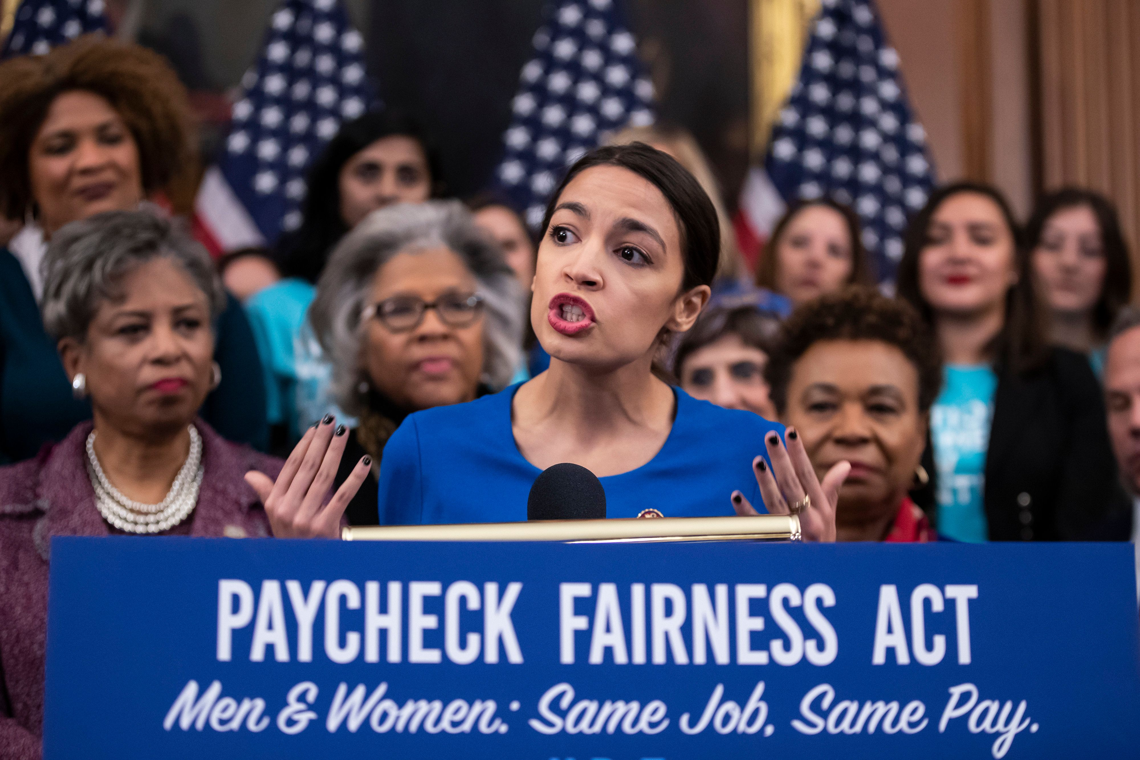 Rep. Alexandria Ocasio-Cortez (D-N.Y.) speaks at an event to advocate for the Paycheck Fairness Act on Capitol Hill on Wednes