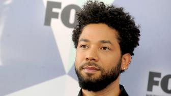 "January 29th 2019 - Actor Jussie Smollett was the victim of an attack in Chicago, Illinois which is being investigated as a possible hate crime. According to police reports, he was assaulted after leaving a fast food restaurant by two men in ski masks who made racial and homophobic slurs and then poured an unknown liquid on Smollett and put a noose around his neck. Smollett identifies himself as a gay man and his mother is African-American. Further reports claim Smollett told police that his attackers touted ""MAGA"" (Make America Great Again) during the assault. Smollett said that he fought off the attackers and then admitted himself to Northwestern Memorial Hospital from which he was released ""in good condition"" later that morning. - File Photo by: zz/Dennis Van Tine/STAR MAX/IPx 2018 5/14/18 Jussie Smollett at The 2018 Fox Network Upfront in New York City. (NYC)"