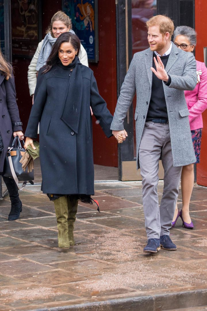 Harry and Meghan visit the Old Vic Theatre in Bristol, Feb. 1.