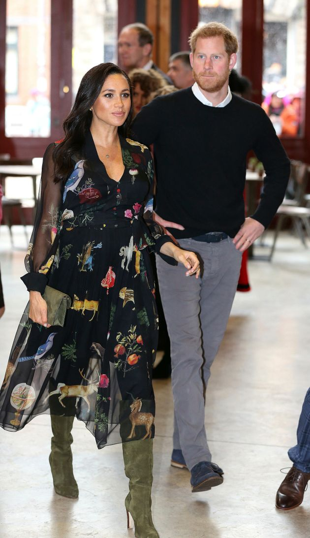 meghan markle wore a black dress covered in colorful woodland creatures huffpost meghan markle wore a black dress