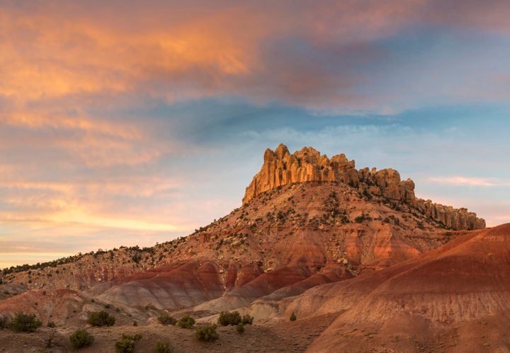 Sunrise over the Circle Cliffs near Long Canyon Overlook, Grand Staircase-Escalante National Monument. The Colt Mesa dep