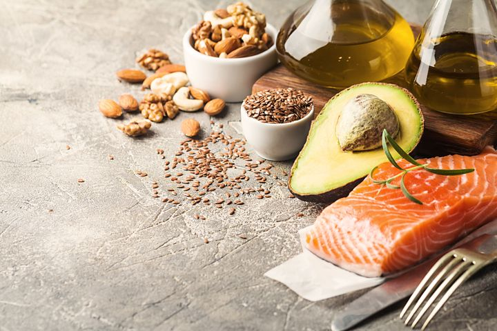 Foods like salmon, avocados, olive oil and nuts contain fats that are good for you.