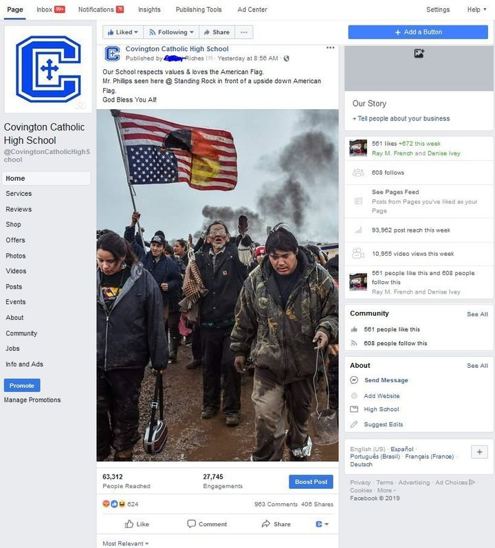 A fake Covington Catholic High School Facebook page set up by Riches.