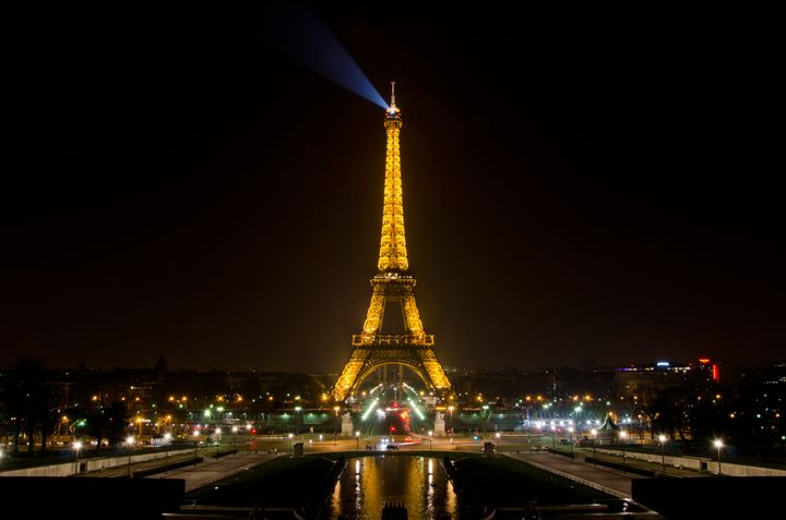 The Eiffel Tower illumination begins at sundown and ends at 1 a.m.