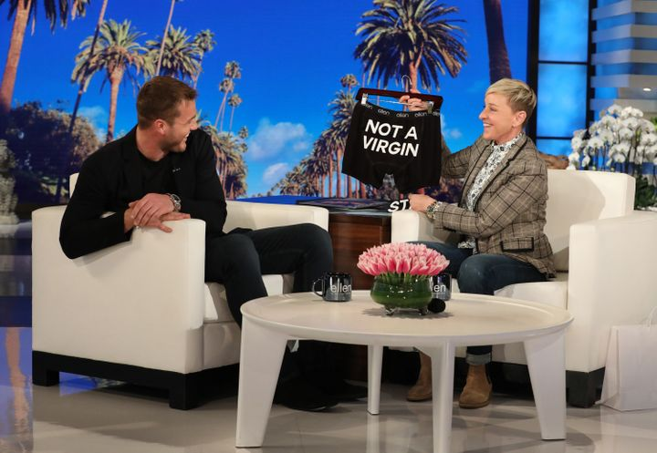 """The Bachelor"" star Colton Underwood got a pair of forward-looking skivvies from Ellen DeGeneres on her show"