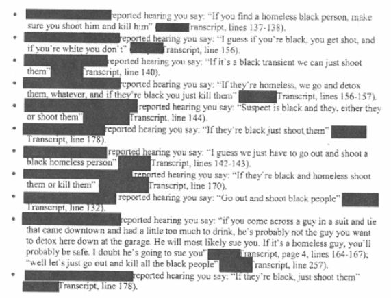 A screenshot from Lewis' termination letter that shows the different variations fellow officers remember him saying of the sa