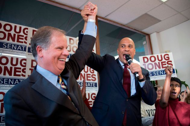 Cory Booker with then senatorial candidate Doug Jones in Birmingham, Ala., last