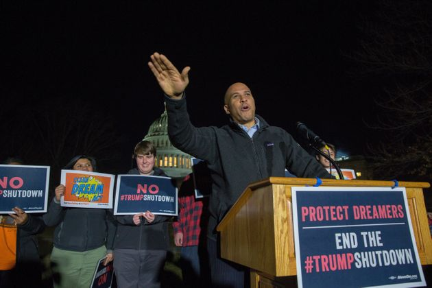 Sen. Cory Booker at a rally outside in Washington last