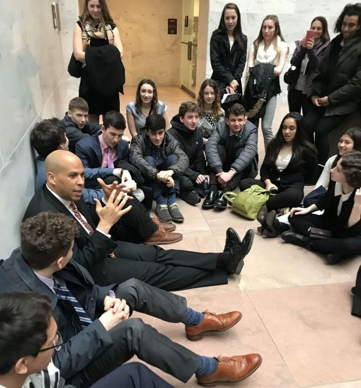 Sen. Cory Booker with a group of  current Jersey  lofty school students at the Capitol.