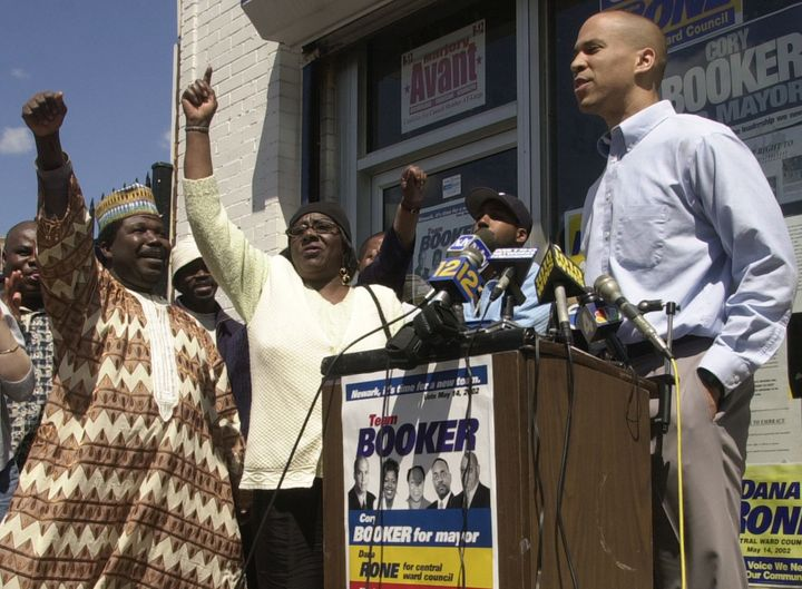Then mayoral candidate Cory Booker outside his  drive headquarters in Newark in 2002.