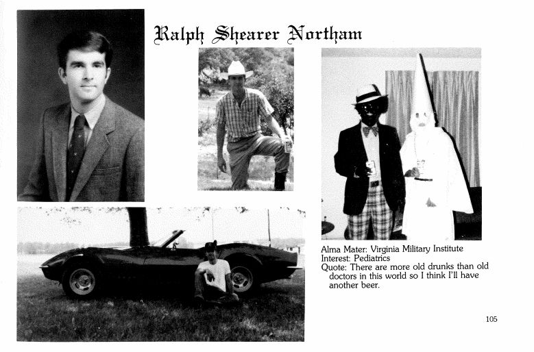 A 1984 yearbook page for Gov. Ralph Northam shows two men in racist garb, though it remains unclear which, if either, is Nort