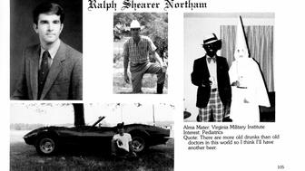 A 1984 yearbook page for Gov. Ralph Northam shows two men: one in blackface, the other in a Ku Klux Klan robe.
