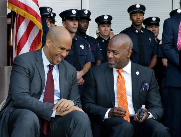 Newark Mayor Ras Baraka, right, and former Newark Mayor, Sen. Cory