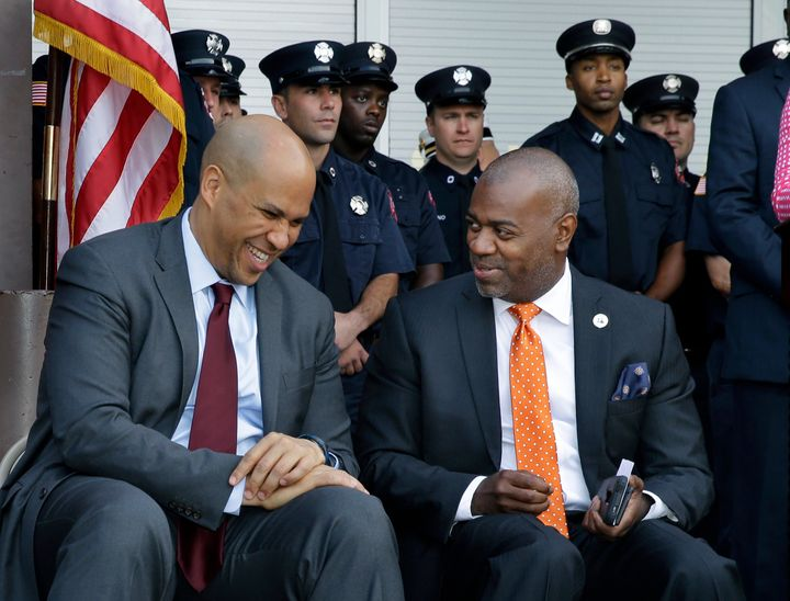 Newark Mayor Ras Baraka, right, and former Newark Mayor, Sen. Cory Booker.