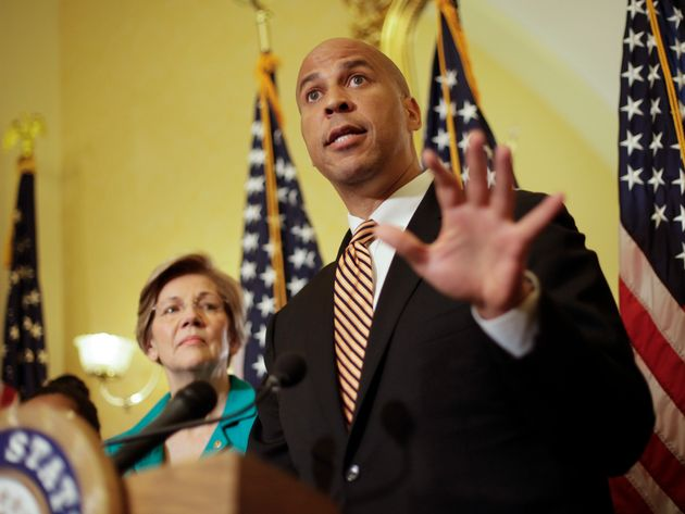 Sen. Cory Booker and Sen. Elizabeth Warren introduce the Dignity for Incarcerated Women Act at a news...