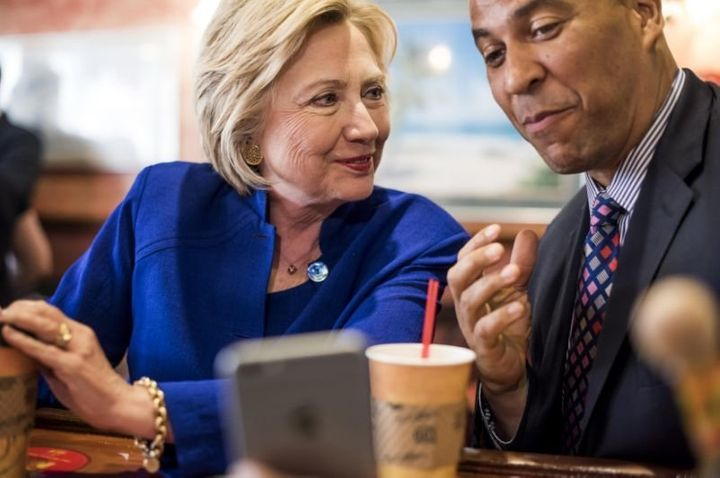 Hillary Clinton with Cory Booker.
