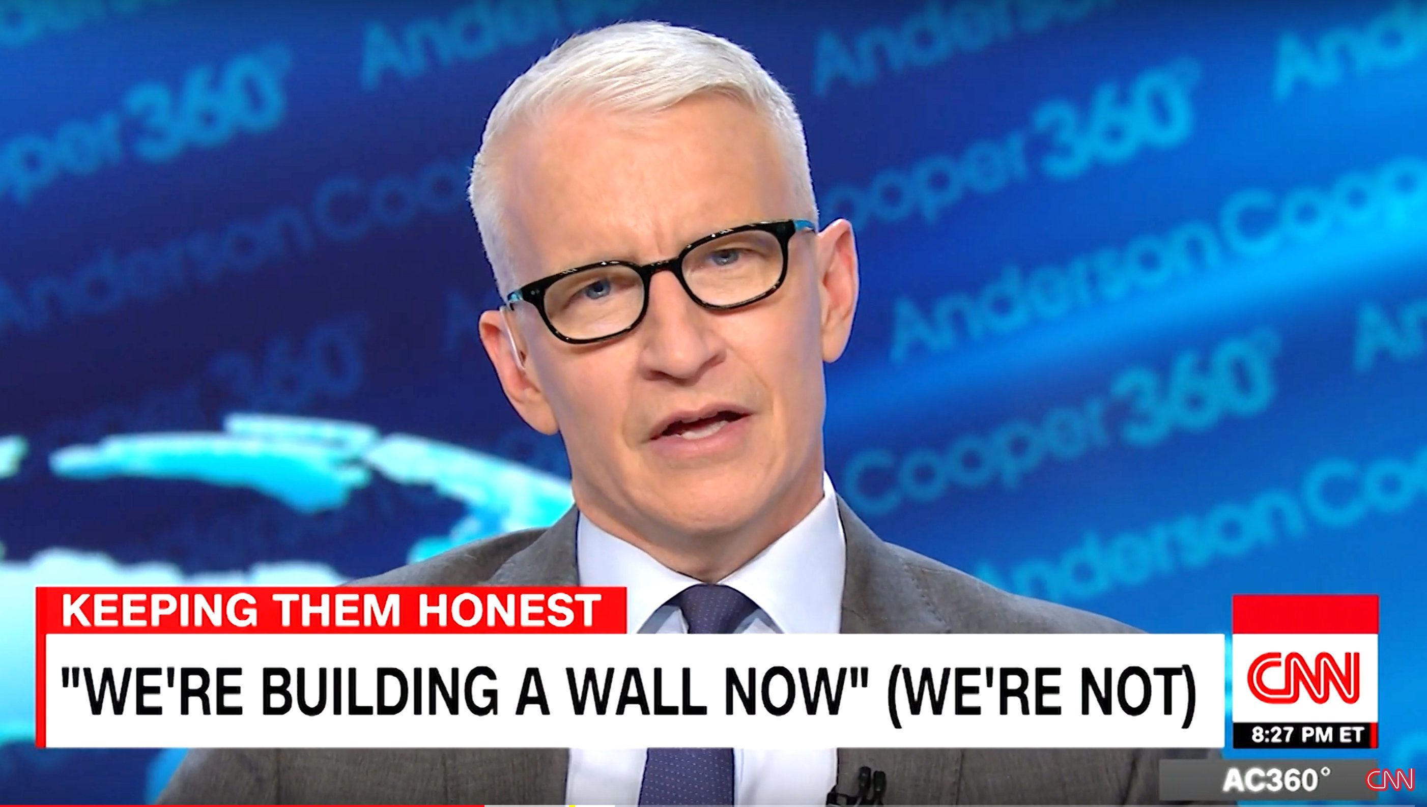 "Anderson Cooper shredded President Donald Trump's ever-shifting definition of his so-called border wall in a scathing Friday night monologue mocking him for playing ""make believe."""