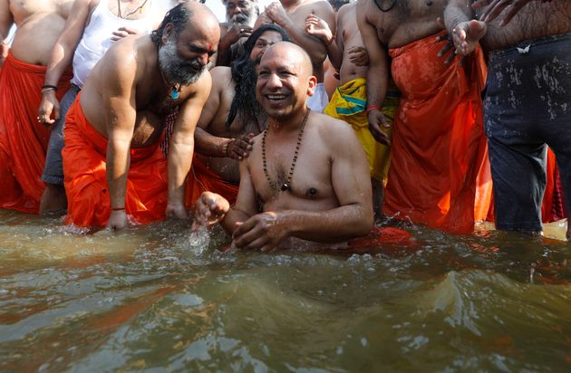Yogi Adityanath and his ministers took a holy dip in the Ganga to wash off their sins, the cabinet minister...