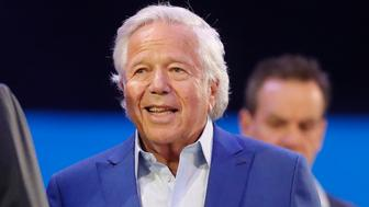 New England Patriots owner Robert Kraft, right, smiles during Opening Night for the NFL Super Bowl 53 football game Monday, Jan. 28, 2019, in Atlanta. (AP Photo/John Bazemore)
