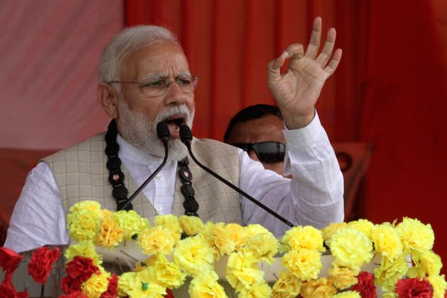 Prime Minister Narendra Modi speaking in one of his rallies today in West