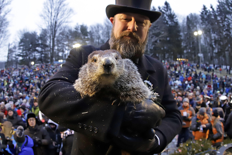 Groundhog Club co-handler Al Dereume holds Punxsutawney Phil.