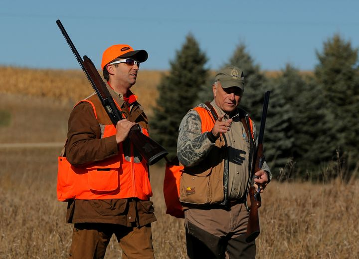 Donald Trump Jr. on the hunt in 2017 with white supremacist defender Rep. Steve King (R-Iowa).