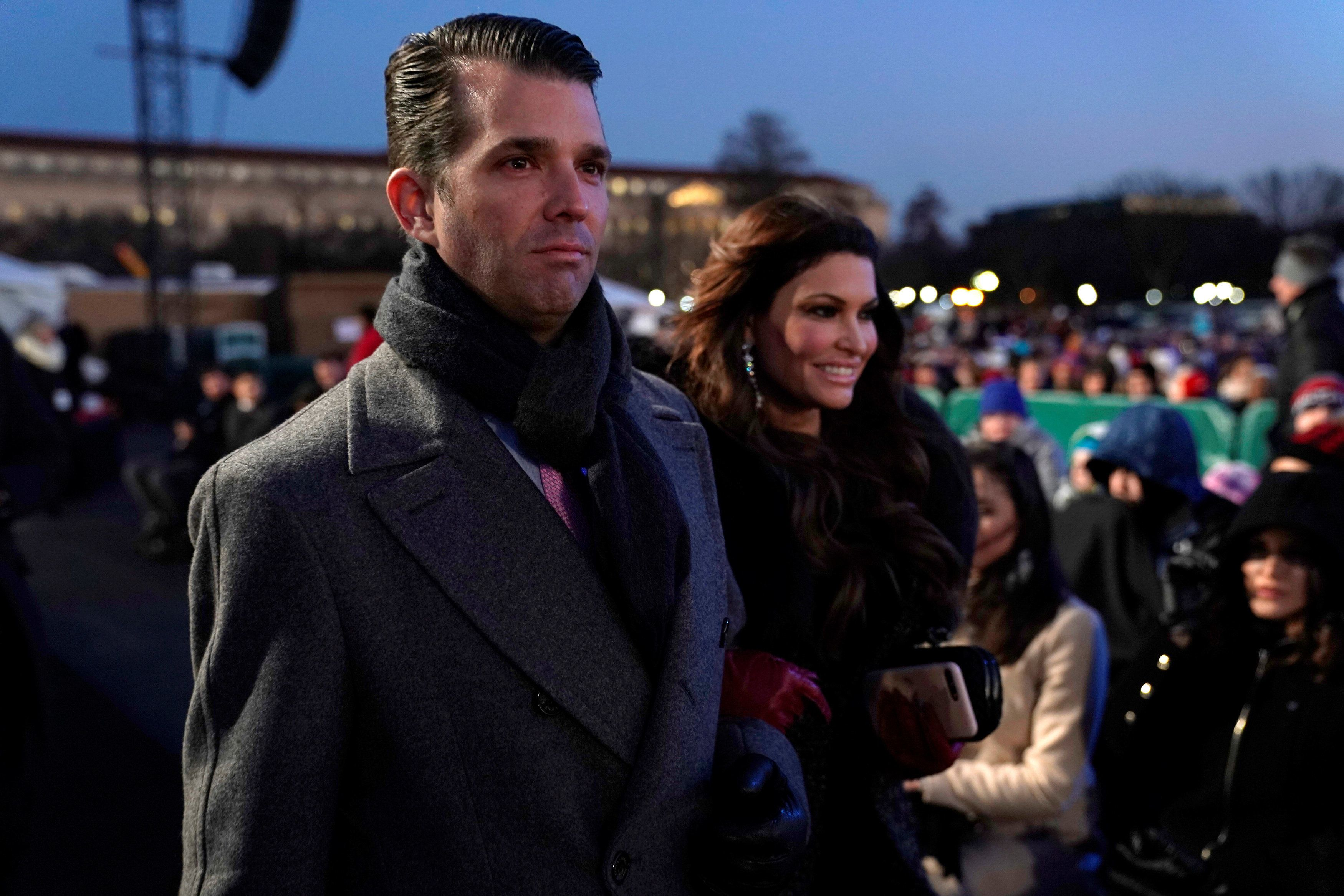 Donald Trump Jr. and his girlfriend Kimberly Guilfoyle arrive to watch his father U.S. President Donald Trump at the 96th annual National Christmas Tree Lighting ceremony near the White House in Washington, U.S., November 28, 2018. REUTERS/Jonathan Ernst