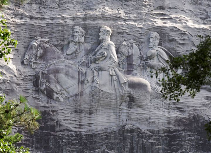 Confederate leaders etched into a rock face at Stone Mountain.