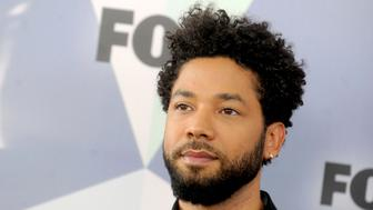 """January 29th 2019 - Actor Jussie Smollett was the victim of an attack in Chicago, Illinois which is being investigated as a possible hate crime. According to police reports, he was assaulted after leaving a fast food restaurant by two men in ski masks who made racial and homophobic slurs and then poured an unknown liquid on Smollett and put a noose around his neck. Smollett identifies himself as a gay man and his mother is African-American. Further reports claim Smollett told police that his attackers touted """"MAGA"""" (Make America Great Again) during the assault. Smollett said that he fought off the attackers and then admitted himself to Northwestern Memorial Hospital from which he was released """"in good condition"""" later that morning. - File Photo by: zz/Dennis Van Tine/STAR MAX/IPx 2018 5/14/18 Jussie Smollett at The 2018 Fox Network Upfront in New York City. (NYC)"""