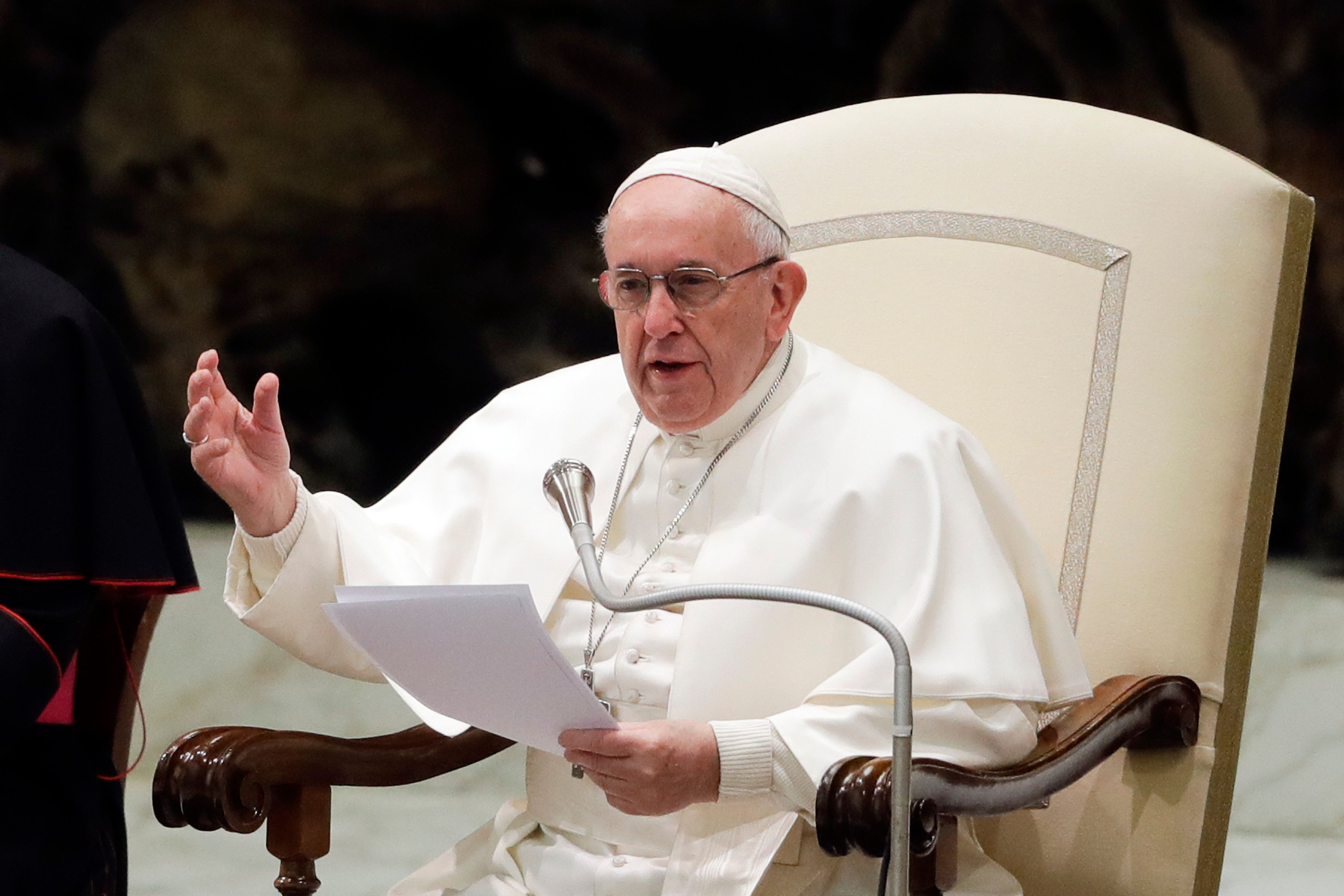 Pope Francis, who is traveling to the Arabian Peninsula on Sunday, delivers a speech at the Vatican on Jan. 30, 2019.