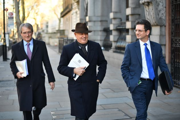 ERG members Owen Paterson (L) and Steve Baker (R) with former Tory leader Iain Duncan Smith